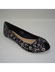 povoljno -Žene Cipele Tkanina Proljeće Jesen Balerinke Udobne cipele Ravne cipele Ravna potpetica Peep Toe za Kauzalni Crn