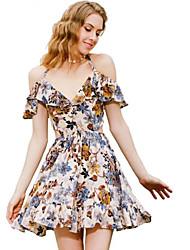 cheap -Women's Holiday Sheath Dress - Floral V Neck