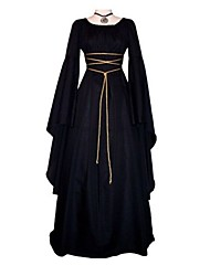 abordables -Cosplay Tenue Epoque Médiévale Costume Femme Robes Noir Vintage Cosplay Polyester Manches Longues Manches Evasées