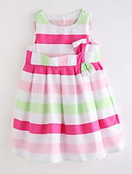 cheap -Girl's Daily Striped Dress, Cotton Linen Summer Cute Basic Red