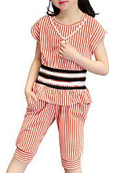 abordables -Ensemble de Vêtements Fille Quotidien Plage Vacances Rayé Coton Eté Manches Courtes A Rayures Noir Rouge