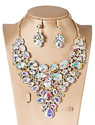 cheap -Cubic Zirconia Jewelry Set - Drop, Flower Classic, Vintage, Elegant Include Drop Earrings / Choker Necklace / Bridal Jewelry Sets Red / Green / Blue For Wedding / Party / Engagement