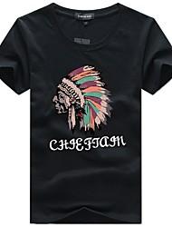 baratos -Homens Tamanhos Grandes Camiseta Básico Retrato Algodão Decote Redondo / Manga Curta