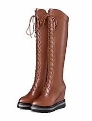 povoljno -Žene Cipele Koža Jesen Zima Modne čizme Čizme Wedge Heel Okrugli Toe Čizme preko koljena za Kauzalni Crn Svjetlosmeđ
