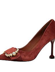 preiswerte -Damen Schuhe PU Samt Sommer Herbst Pumps Komfort High Heels Spulen Absatz Geschlossene Spitze Spitze Zehe Imitationsperle Schnalle für