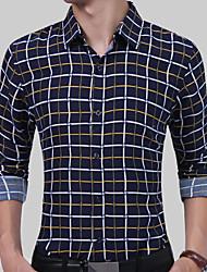 cheap -Men's Basic Shirt - Plaid / Check / Long Sleeve