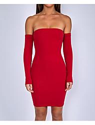 Недорогие -Жен. Очаровательный Облегающий силуэт Оболочка Платье - Однотонный Мини