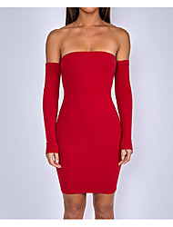 cheap -Women's Cute Bodycon Sheath Dress - Solid Colored