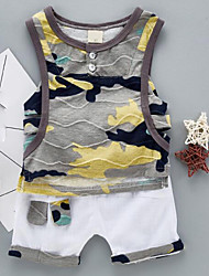abordables -bébé Garçon Couleur Pleine Sans Manches Ensemble de Vêtements