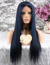baratos -Cabelo Remy Peruca Cabelo Brasileiro Liso Corte em Camadas 130% Densidade Com Baby Hair Azul Curto Longo Comprimento médio Mulheres