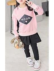 cheap -Girls' Daily Sports Geometric Color Block Letter Clothing Set, Cotton Spandex Spring Fall Long Sleeves Casual Active Blushing Pink Yellow