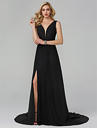 cheap -A-Line Plunging Neck Sweep / Brush Train Chiffon Cocktail Party / Formal Evening Dress with Split Front by TS Couture®