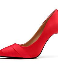 preiswerte -Damen Schuhe Seide Frühling Herbst Pumps Komfort High Heels Stöckelabsatz für Normal Schwarz Grau Rot