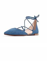 abordables -Femme Chaussures Fibre de Carbone Eté Confort Sandales Talon Plat Marron / Bleu marine / Rose / Rubans