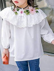 cheap -Girls' Solid Floral Embroidered Shirt, Cotton Spring Fall 3/4 Length Sleeves Simple Cute White