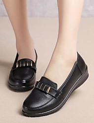 abordables -Femme Chaussures Cuir Printemps Automne Confort Mocassins et Chaussons+D6148 Talon Plat Bout rond pour Noir Bourgogne