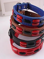 preiswerte -Hunde Katzen Halsbänder Verstellbare Größe Tragbar Klappbar Solide Geometrisch PU - Leder / Polyurethan Leder Schwarz Rot Blau