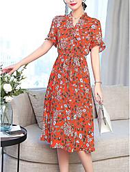 baratos -Mulheres Tamanhos Grandes Moda de Rua Delgado Rodado Vestido Floral Decote V Médio