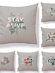 baratos -6 pçs Téxtil Algodão / Linho Fronha, Floral Simples Estampado Forma Quadrada Arte Deco / Retro