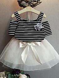 Недорогие -Девочки Повседневные Полоски Набор одежды, Искусственный шёлк Полиэстер Лето С короткими рукавами Очаровательный Белый Черный