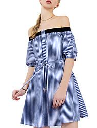 abordables -Femme Coton Mince Balançoire Robe Couleur Pleine Sans Bretelles Epaules Dénudées Au dessus du genou