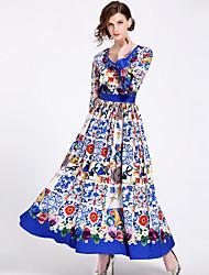 abordables -Mujer Chic de Calle Boho Corte Swing Vestido - Estampado, Floral Maxi