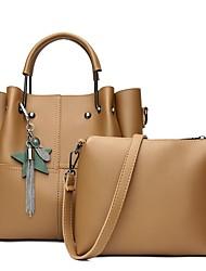baratos -Mulheres Bolsas PU Leather Conjuntos de saco 2 Pcs Purse Set Mocassim Rosa / Verde Escuro / Khaki