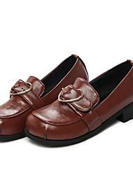 abordables -Femme Chaussures Similicuir Printemps Automne Confort Mocassins et Chaussons+D6148 Talon Bas Bout rond pour Noir Marron Rouge Noir / blanc
