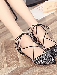povoljno -Žene Cipele Sitne šljokice Proljeće Jesen Balerinke Udobne cipele Ravne cipele Ravna potpetica za Kauzalni Crn Pink