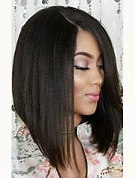 cheap -Virgin Human Hair Lace Front Wig Peruvian Hair Straight Wig Bob Haircut / Short Bob 130% With Baby Hair / For Black Women Black Women's Short / Long / Mid Length Human Hair Lace Wig