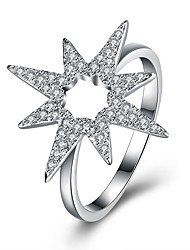 cheap -Women's Cubic Zirconia S925 Sterling Silver Star Band Ring - Star Fashion Silver Ring For Party Daily