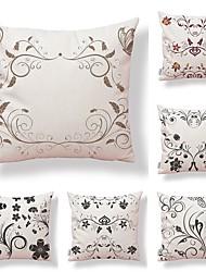 cheap -6 pcs Textile Cotton/Linen Pillow Cover, Floral Art Deco Special Design Artistic Style High Quality