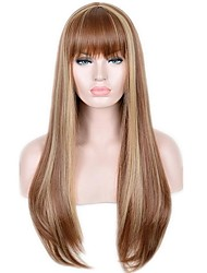 cheap -Synthetic Wig Straight Bob Haircut Synthetic Hair Heat Resistant / Natural Hairline Brown Wig Women's Very Long Capless