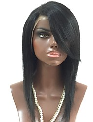 cheap -Unprocessed Human Hair Lace Front Wig Brazilian Hair Straight Wig Layered Haircut / Side Part 130% For Black Women / With Bangs Black Women's Short / Long / Mid Length Human Hair Lace Wig