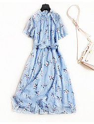 cheap -TS - Miss French Women's Simple Street chic T Shirt Swing Dress - Floral