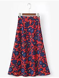 abordables -Mujer Corte Bodycon Faldas - Plisado, Floral / Patrones florales