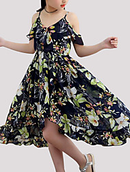 cheap -Girl's Floral Dress, Polyester Summer Sleeveless Floral Navy Blue