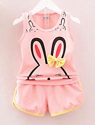 cheap -Girls' Daily Holiday Print Clothing Set, Cotton Acrylic Spring Summer Sleeveless Cute Active Blushing Pink Yellow Fuchsia