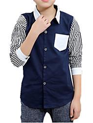 baratos -Para Meninos Camisa Riscas Bordado Outono Todas as Estações Algodão Manga Longa Floral Branco Preto Azul Marinha