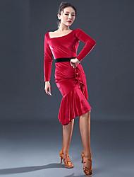 cheap -Latin Dance Dresses Women's Performance Velvet Chiffon Split Joint Long Sleeves Dress