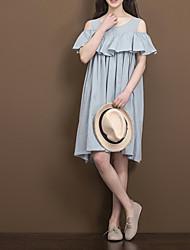 baratos -Mulheres Simples Reto Vestido Sólido Altura dos Joelhos