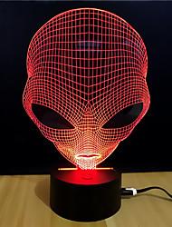Недорогие -3D ночной свет Поменять USB Стресс и тревога помощи / Меняет цвета / Креатив 5 V