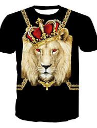 cheap -Men's Basic Plus Size Cotton T-shirt - Animal Print Round Neck / Short Sleeve / Long