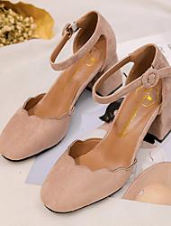 Недорогие -Жен. Обувь Полиуретан Весна Удобная обувь Обувь на каблуках На низком каблуке Круглый носок Стразы Черный / Коричневый / Зеленый