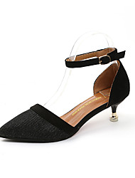 cheap -Shoes Rubber Spring Fall Comfort Heels Low Heel Pointed Toe for Outdoor Black Silver