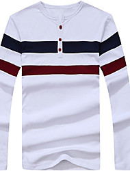 cheap -Men's Basic Cotton T-shirt - Striped Round Neck