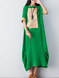 cheap -Women's Beach Basic Loose T Shirt Dress - Solid Colored / Floral Embroidered Maxi / Spring / Summer