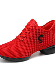 cheap -Women's Dance Sneakers Tulle Sneaker Outdoor Practice Flat Heel White Black Red Customizable
