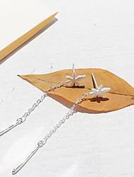 abordables -Femme Gland Forme de Feuille S925 argent sterling Boucles d'oreille goutte - Fleur / simple / Gland Argent Des boucles d'oreilles Pour