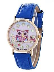 Недорогие -Жен. Модные часы Кварцевый Крупный циферблат PU Группа Аналоговый Мода Черный / Белый / Синий - Коричневый Синий Розовый Один год Срок службы батареи